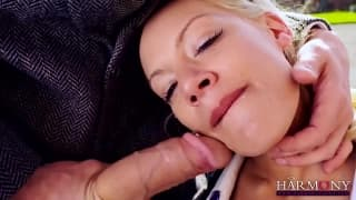 Loulou is a student  here sucking a giant cock!