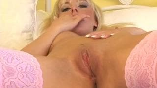 Horny blonde Lucy Nova masturbates with her dildo