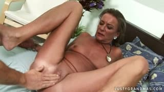 This tanned grandmother is a dirty whore