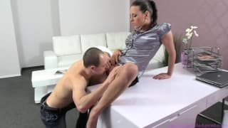 In this casting a hot brunette gets impatient