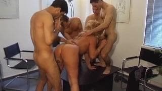 This blonde has a gang bang with some random men