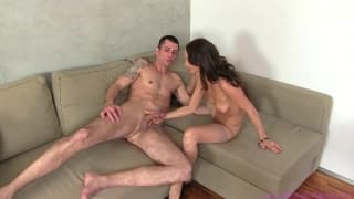 This slut tests this guys cock in a porn casting