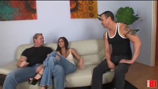 A bisexual threesome with two guys and one girl