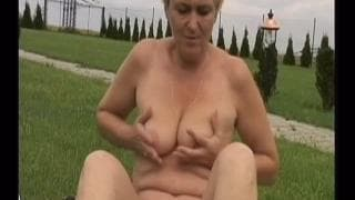 Eva is a grannie fucking outdoors
