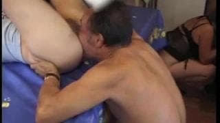 Two young girls fuck around with some old guys