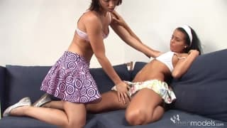 Carmen Leatitia and her friend touch each other up