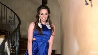Beautiful Tori Black fucks herself on the stairs