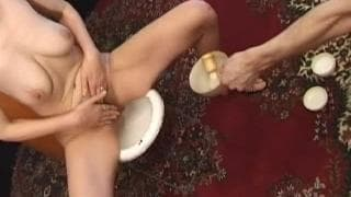 Grandma has a gangbang and her pussy shaved