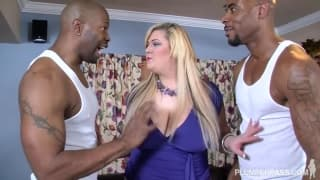 Skye Sinn gets a good shag from two big black guys