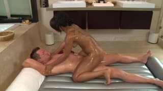 Leilani Leeane is giving a massage to his cock