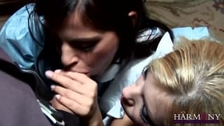 Donna Bell and Black Angelika suck cock a lot!