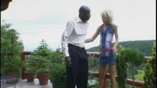 Young blonde fucks this huge black cock