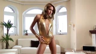 Veronika Fasterova touches herself
