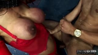 This tranny has a huge cock ready to fuck with