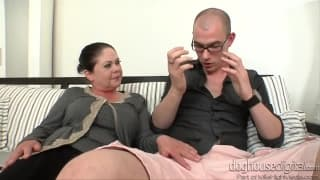 A young guy is fucked by a mature woman