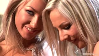 These two hot blondes caress each other