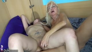 An old lesbian and a young lesbian fuck together