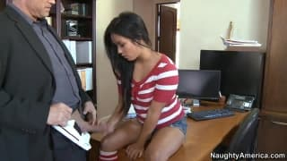 Lana Violet excites us in her role as a secretary