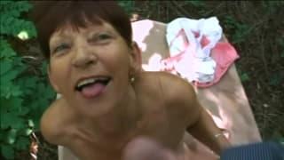 Fucking a grandma outside in the fresh air