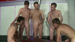 A group of gay men all meet to fuck each other