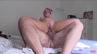 50's inspired whore fucks Torbe and swallows cum