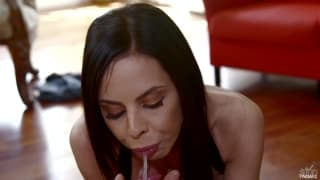 Brandy Aniston gives her man a good blowjob