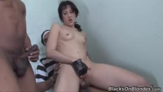 This brunette works and fucks in the prison