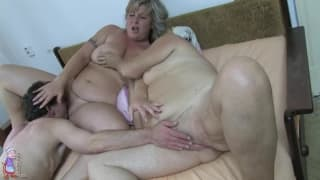 These two granny's enjoy a threesome together