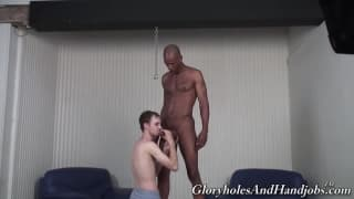 A big muscular black guy enjoys a wank