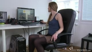 A moment of masturbation in the office