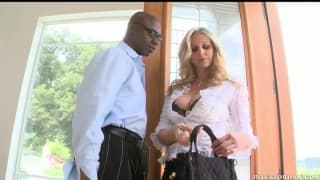 Julia Ann seduces this black guy with a big dick