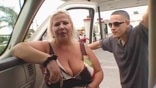 This man enjoys this fat blonde woman