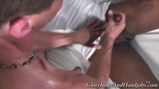 Handjob time with two gay men
