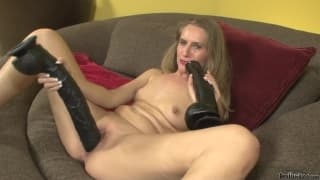 Sara James and her giant black dildo
