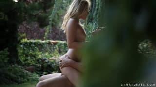 Leony April enjoys herself in the garden