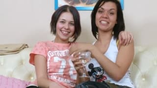 Cute lesbian brunettes with their sextoys!