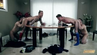 Three gay men have a sexual meeting