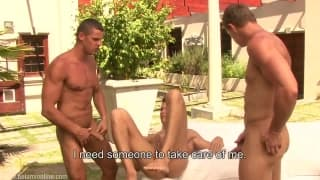 Three gays playing outside with their cocks