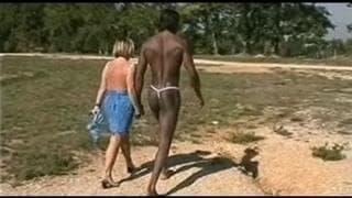 An interracial threesome outdoors!