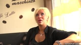 Blonde busty milf gets a cum facial.
