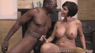 A perverted black guy bangs this brunette