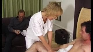 This blonde is a greedy nurse wanting cock