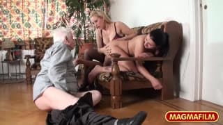 Britt Angel and Kirsten fuck an old man