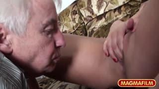 Britt Angel and Kirsten fuck an old man