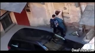 A good guy fucking a girl in the street!