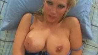 Horny blonde milf sucks a lot of cock