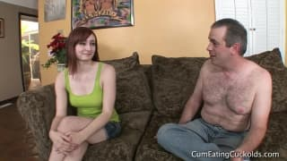 A guy watches his girl being fucked