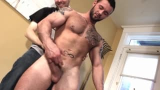 Two muscular men who love playing with cock