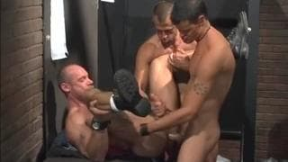 Three gay pornstars all fucking together