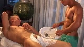 A gay guy shaves another and then masturbates